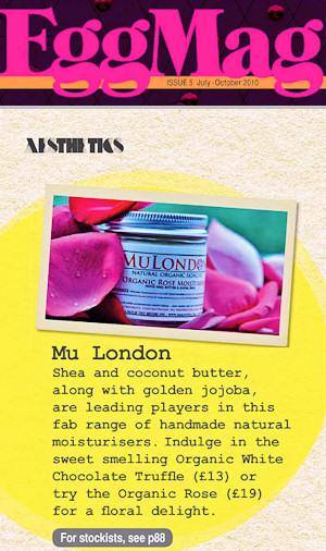 MuLondon - Natural Organic Skincare in EggMag!