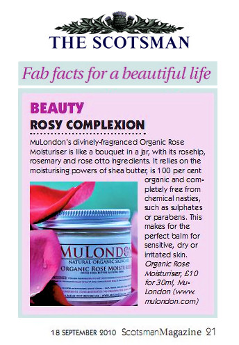 MuLondon Organic Rose cream featured in The Scotsman!