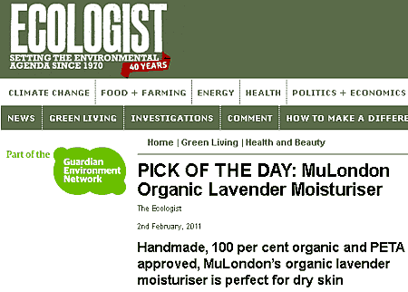 """MuLondon Organic Lavender Moisturiser is Pick Of The Day in """"The Ecologist"""""""