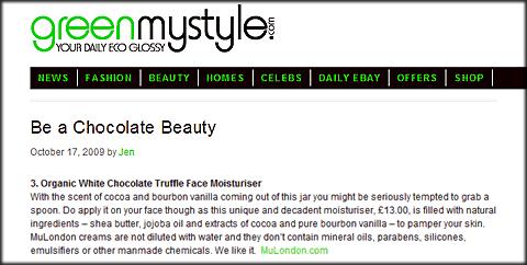Organic White Chocolate Truffle Moisturiser.
