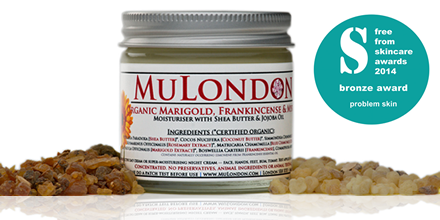 FreeFrom Skincare Awards, Problem Skin Category Bronze Award Winner – MuLondon Organic Marigold, Frankincense & Myrrh Moisturiser.