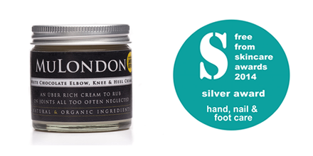 FreeFrom Skincare Awards, Hand, Nail & Foot Care Category Silver Award Winner – MuLondon Organic White Chocolate Elbow, Knee & Heel Cream.