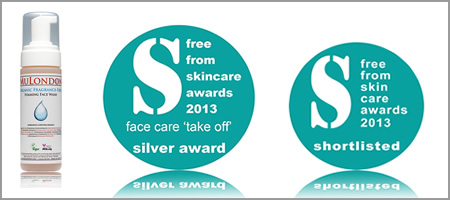 Face Care ('Take Off') Category Silver Award in FreeFrom Skincare Awards: MuLondon Organic Fragrance-Free Foaming Face Wash.