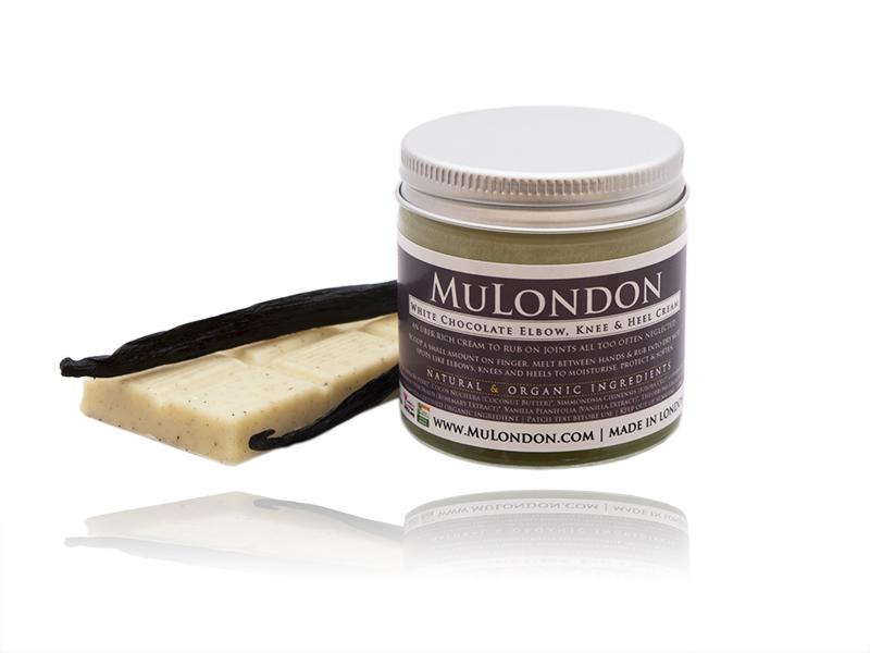 MuLondon Organic White Chocolate Elbow, Knee & Heel Cream.