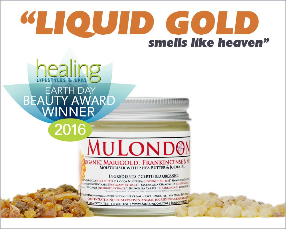 "MuLondon Organic Marigold, Frankincense & Myrrh Moisturiser Chosen As The Winning Product In Healing Lifestyles & Spas Earth Day Beauty Awards, Named ""Liquid Gold That Smells Like Heaven"""