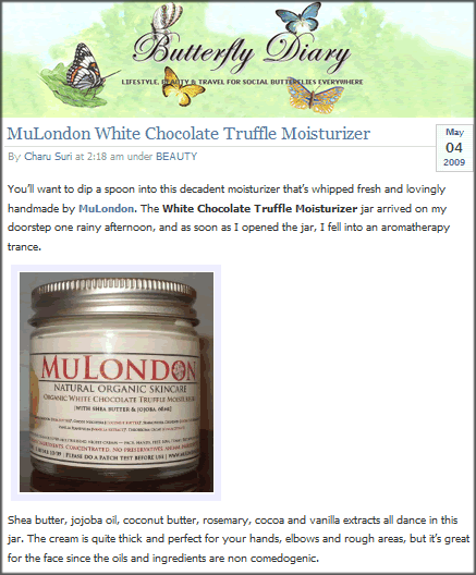 MuLondon products reviewed on Butterfly Diary.