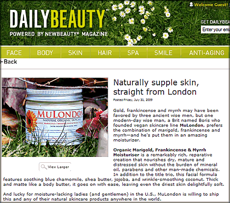 MuLondon featured and reviewed on DailyBeauty.com